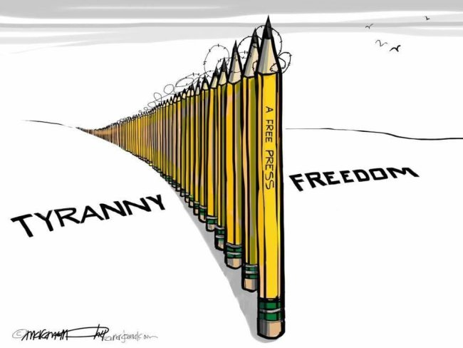 Free press is a wall between freedom and tyranny.