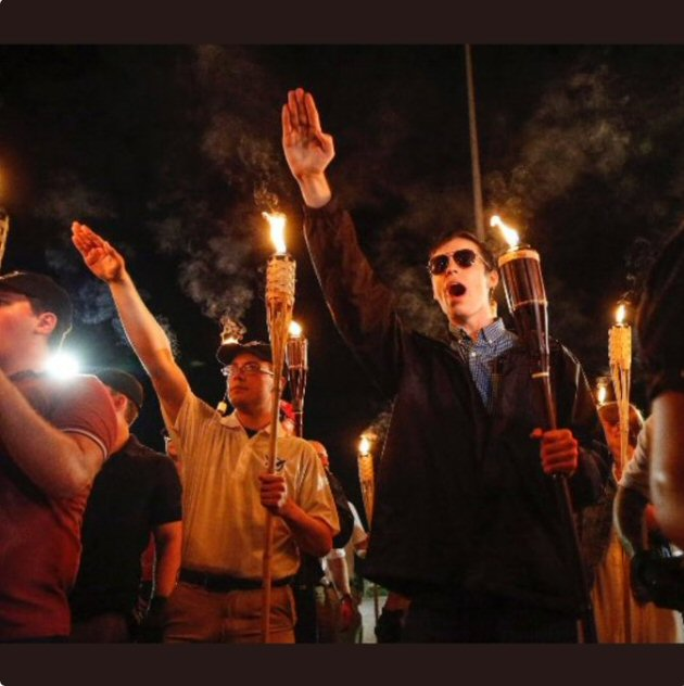Men at a rally in Charlottesville, VA, doing the Nazi salute. 11 Aug 2017