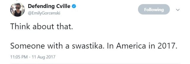 Swastika in America in 2017. Think about that.