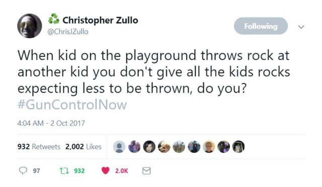 Tweet from Christopher Zullo: When kid on the playground throws rock at another kid you don't give all the kids rocks expecting less to be thrown, do you? #GunControlNow