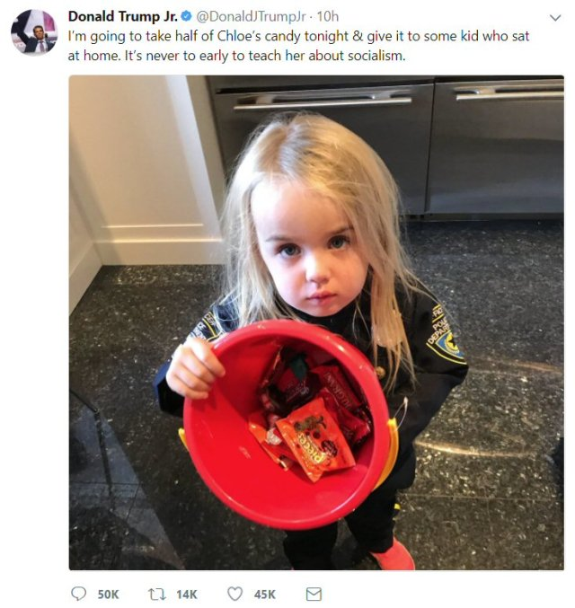 Tweet from DJT Jr.: I'm going to take half of Chloe's candy tonight & give it to some kid who sat at home. It's never to early to teach her about socialism.