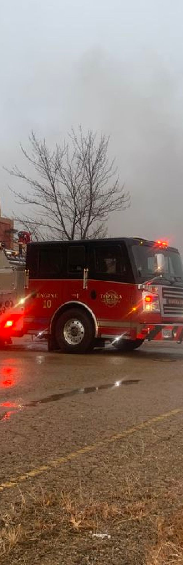 Topeka Fire Crews battle a blaze at the mostly abandoned White Lakes Mall Tuesday morning.