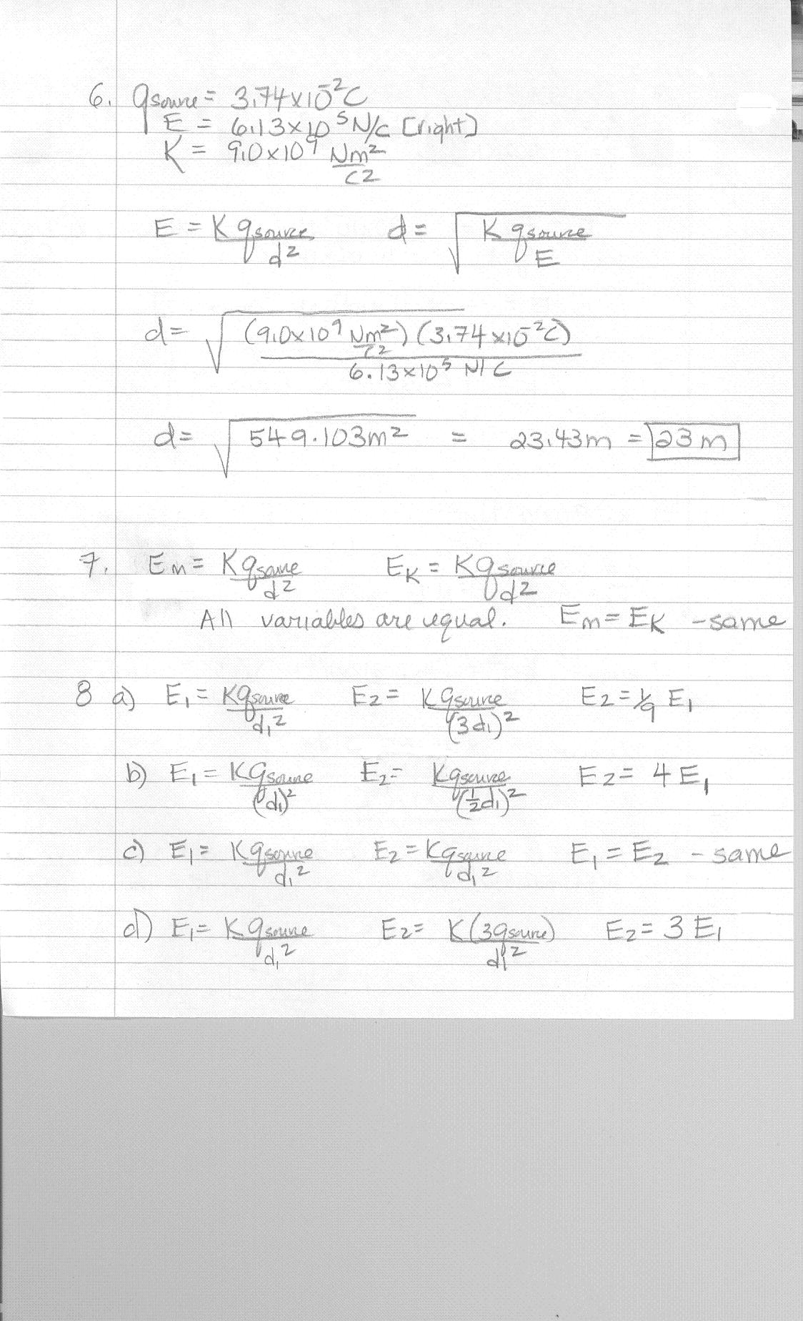Worksheet Electrostatic Forces And Fields