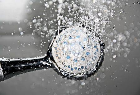 shower head spraying water