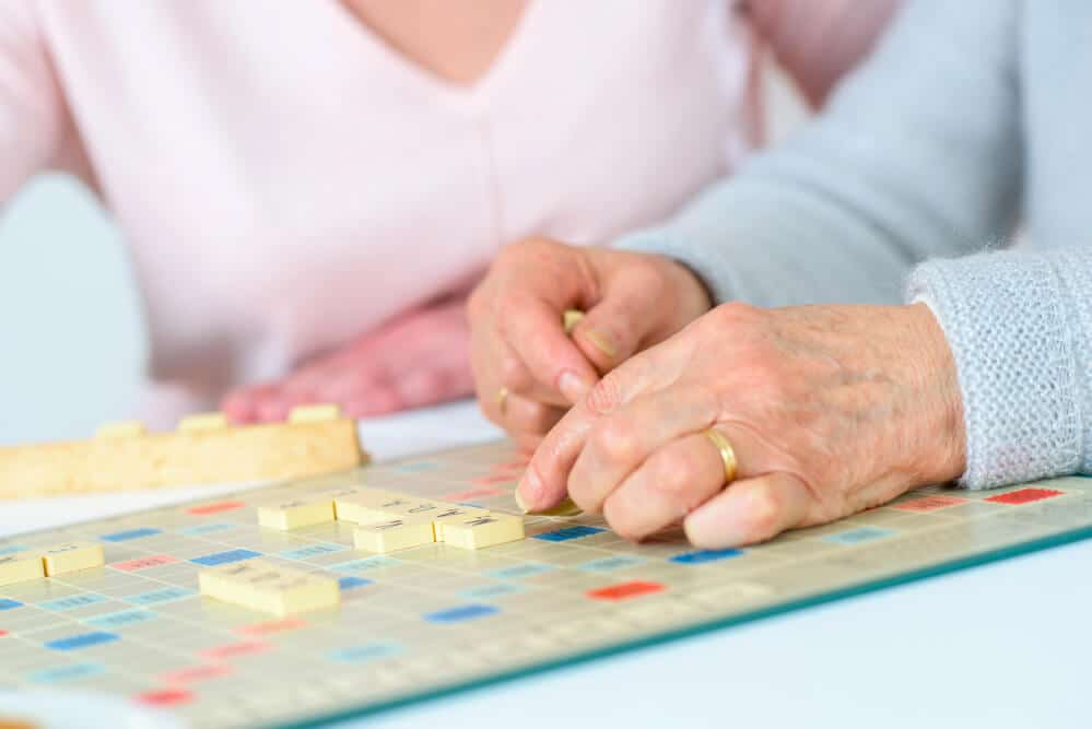 seniors with dementia playing a game