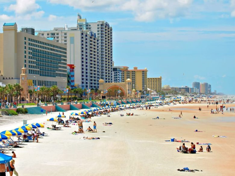daytona beach with hotels in the background