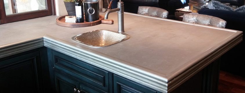 zinc countertop with beaded edge detail
