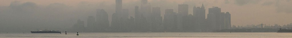 Skyline of New York City, foggy