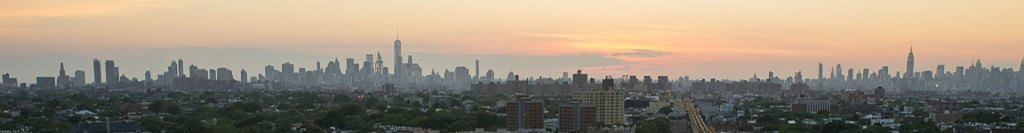 Skyline of New York City, at sunset