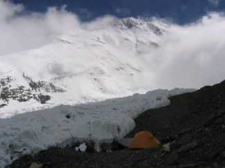 At ABC - glacier field and Everest behind (20,700 ft)