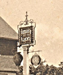 The original Fox & Pelican sign as viewed from the west, i.e. from the church side.