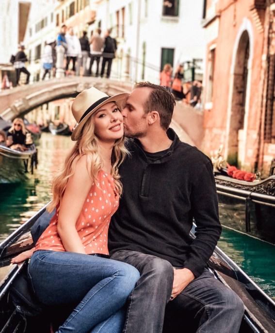 Jeff and tiffany on a gondola ride in venice italy