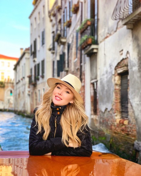 Picture of Tiffany Gray on a boat in Venice Italy