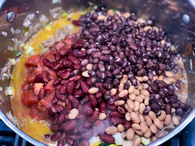 Pot of vegan chili ingredients