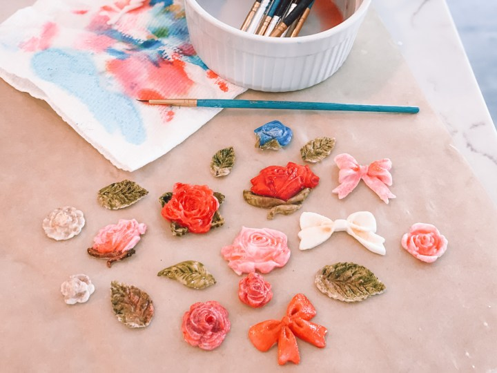 Molded and painted gumpaste flowers and bows