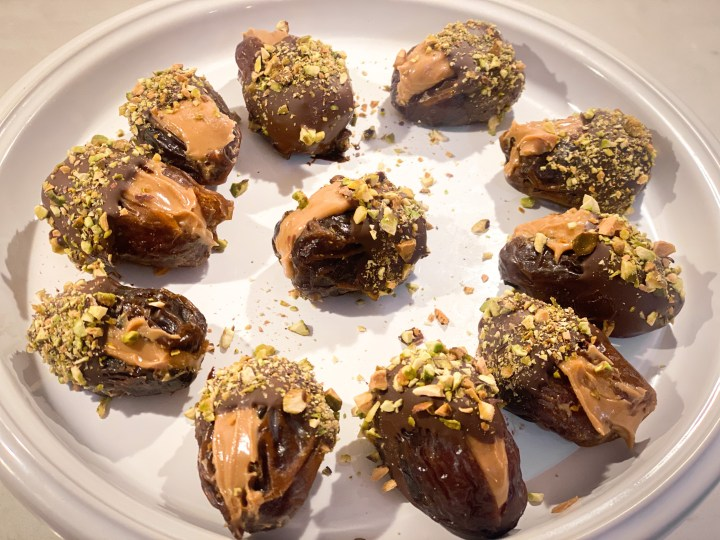 picture of chocolate-dipped dates with nuts