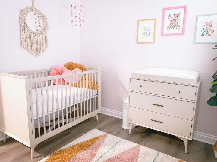 pink retro mid-century modern baby girl nursery