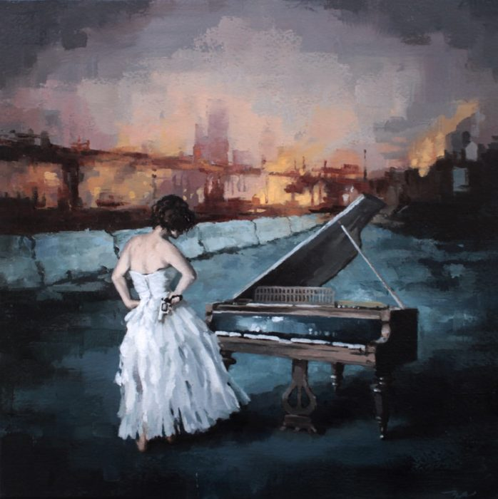Woman holding a revolver pistol standing in front of a piano in a burning city's empty street