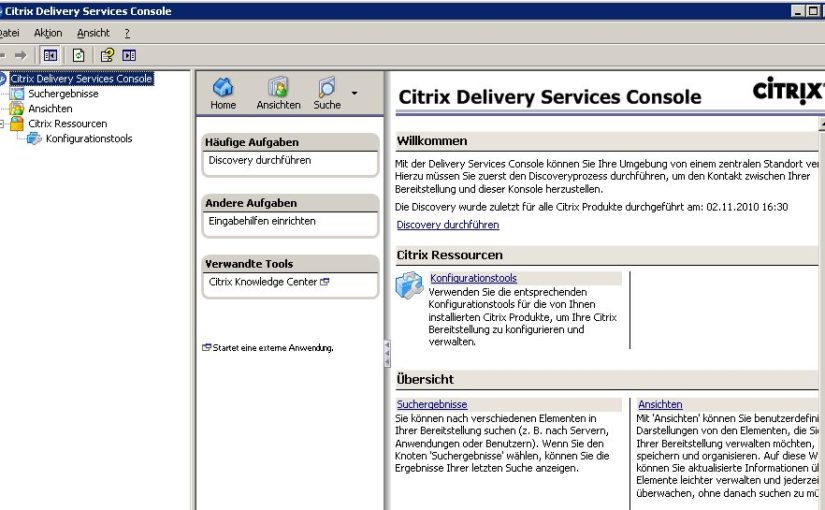 Citrix Delivery Service Console ohne Funktion