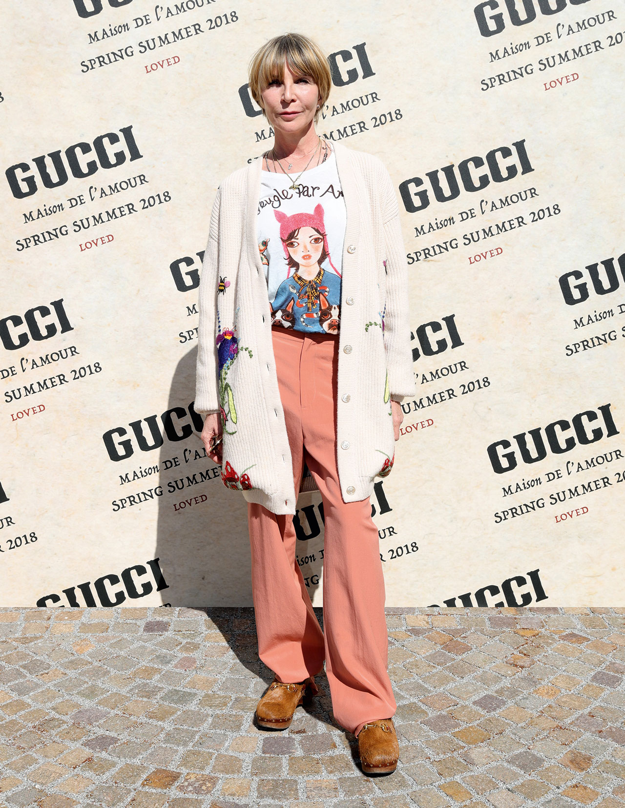 c6169fc49 Artist Helen Downie outside the Gucci Spring/Summer 2018 show at Milan  Fashion Week Credit: Supplied