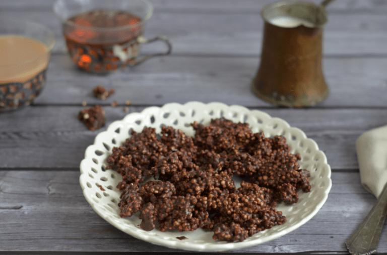 Leckerer Quinoa-Schokoladen-Puffer, die ich zur Geburtstagssause von der Kuchenbäcker gemacht habe