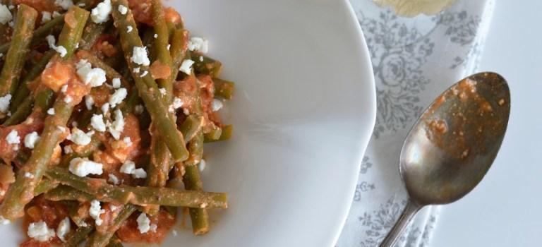 Vegetarisch Kochen: Bohnen in Tomaten-Feta-Sauce