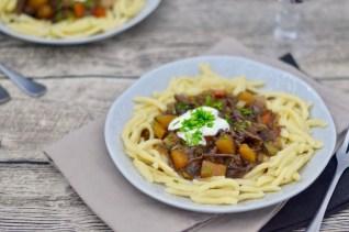 Soulfood: Spätzle mit Rindfleisch & zweierlei Kürbis