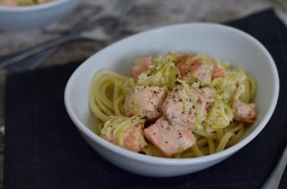 Für jeden Tag: Spaghetti mit Lachs & Rosenkohl