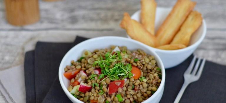 Für jeden Tag: Linsensalat mit Parmesansticks