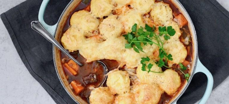 Soulfood: Rindergulasch mit gratinierten Kartoffelklößen