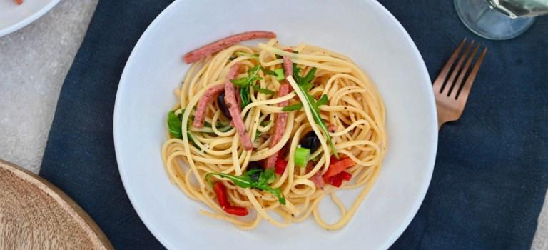 Pasta Wednesday: Schnelle Pasta mit Hähnchensalami