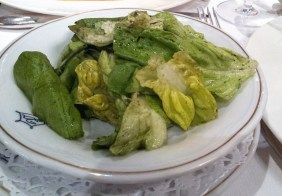 The salad with pumpkin seed oil