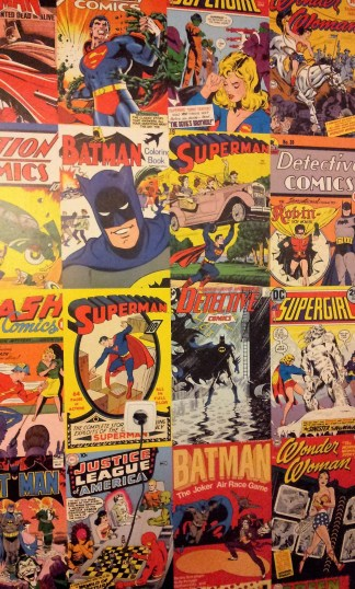 The wall at the restrooms is full of comics too