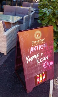 It's a good deal ('Aktion' as we say in Austria) and you also can enjoy your coffee + cake in the patio as you see on the picture