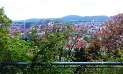 The scenic view onto Graz from the patio of the Starcke Haus