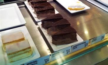 The tarts such as chocolate tart, cream tart called 'Kardinalschnitte'