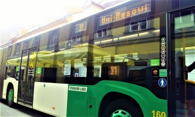 The bus is heading to the economis and law school of the University of Graz