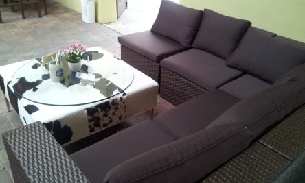 The sofa in the roofed patio