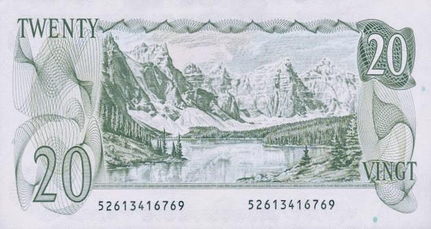 Valley of Ten peaks on the Canadian 20 dollar bill. photo credit: worldbanknotescoins