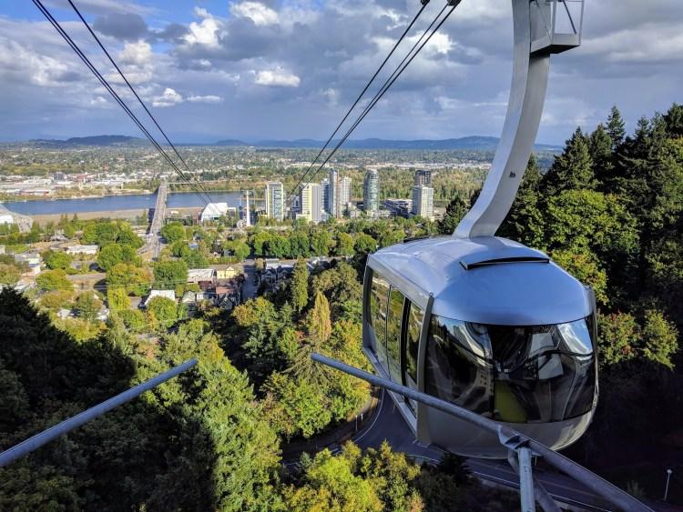 City views from Portland aerial tram