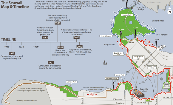 Vancouver Seawall map