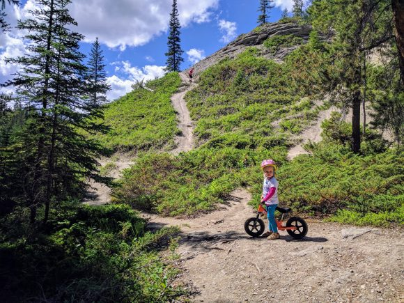 """Erika on the """"two-wheel"""" stroller on the Maligne Canyon trail"""