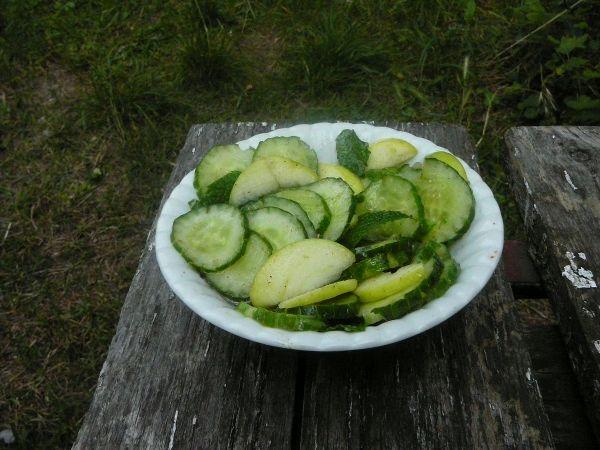 salatka ogórkowa z mietą i papierówką