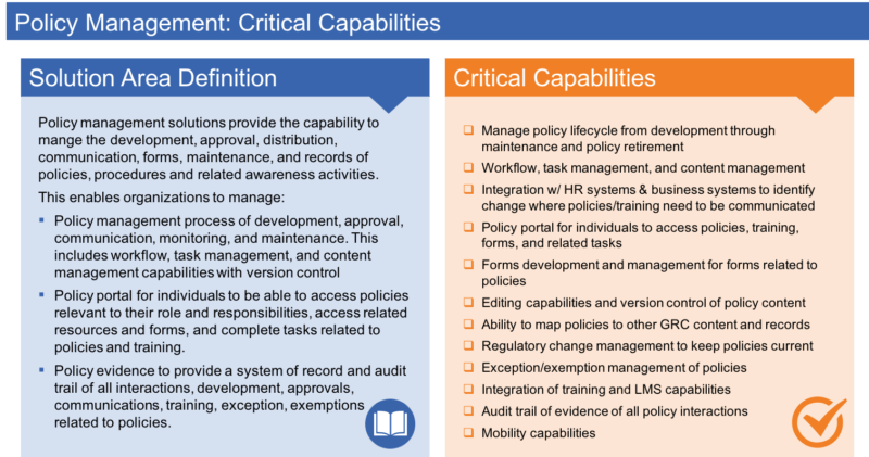 Policy Management Information & Technology Architecture