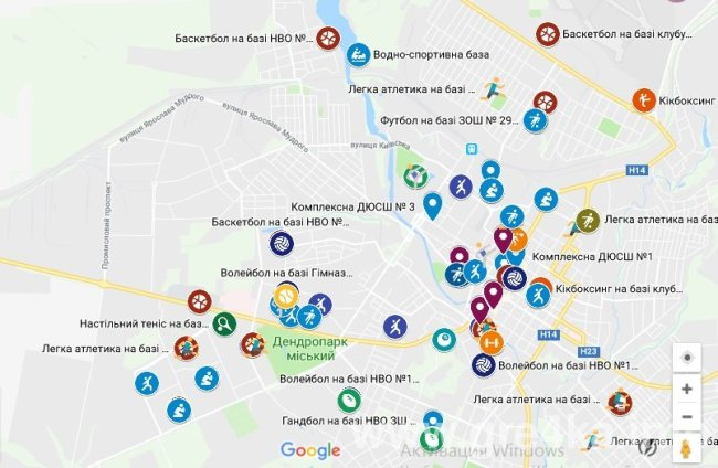 Картинки по запросу спортивна мапа кропивницького