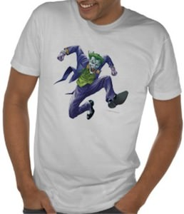 The Joker Jumping from joy on this t-shirt