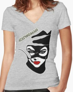 Womens V Neck 1990s Catwoman T Shirt