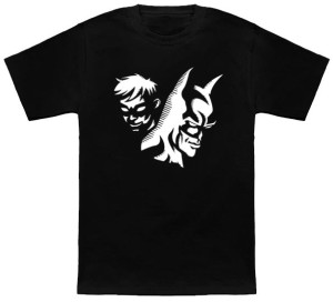 Batman And Robin Serious Black And White T-Shirt
