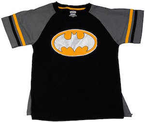 Kids Batman Metallic Logo T-Shirt With Cape