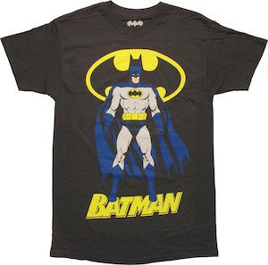 Blue Caped Batman And Logo T-Shirt